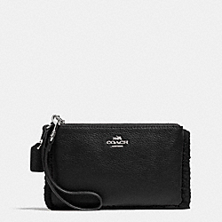 COACH F64709 Small Wristlet In Leather And Shearling SILVER/BLACK/BLACK