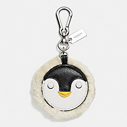 COACH F64753 Furry Penguin Key Ring SILVER/MULTICOLOR