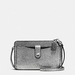 MESSENGER WITH POP-UP POUCH IN COLORBLOCK LEATHER - f64798 - SILVER/SILVER/BLACK