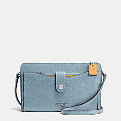 MESSENGER WITH POP-UP POUCH IN COLORBLOCK LEATHER - f64798 - SILVER/CORNFLOWER MULTI