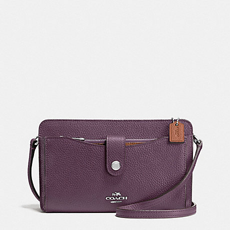 COACH F64798 MESSENGER WITH POP-UP POUCH IN COLORBLOCK LEATHER SILVER/EGGPLANT-MULTI