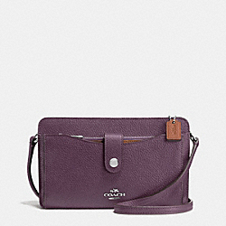 MESSENGER WITH POP-UP POUCH IN COLORBLOCK LEATHER - f64798 - SILVER/EGGPLANT MULTI