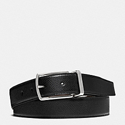 MODERN HARNESS CUT-TO-SIZE REVERSIBLE TEXTURED LEATHER BELT - f64826 - BLACK/DARK BROWN