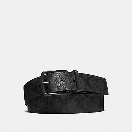 COACH f64839 WIDE HARNESS CUT-TO-SIZE REVERSIBLE SIGNATURE COATED CANVAS BELT BLACK/BLACK