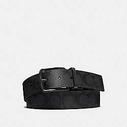 COACH WIDE HARNESS CUT-TO-SIZE REVERSIBLE SIGNATURE COATED CANVAS BELT - BLACK/BLACK - F64839