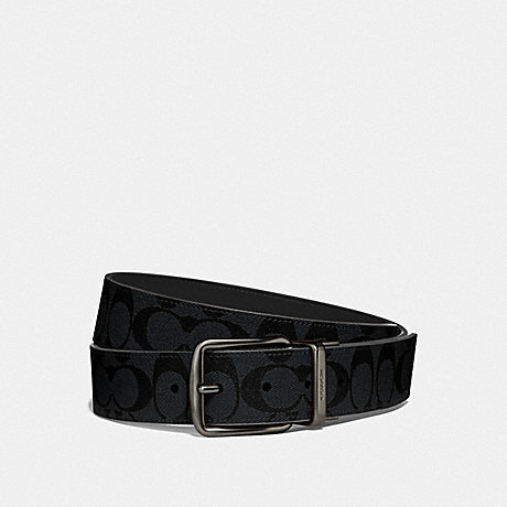 COACH F64839 WIDE HARNESS CUT-TO-SIZE REVERSIBLE BELT IN SIGNATURE CANVAS CHARCOAL/BLUE MULTI/BLACK ANTIQUE NICKEL