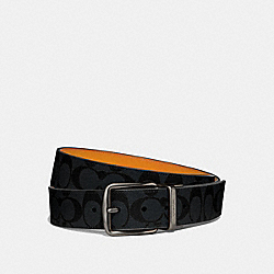 COACH F64839 - WIDE HARNESS CUT-TO-SIZE REVERSIBLE BELT IN SIGNATURE CANVAS CHARCOAL/MARIGOLD/BLACK ANTIQUE NICKEL