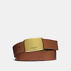 COACH WIDE PLAQUE CUT-TO-SIZE REVERSIBLE PEBBLE LEATHER BELT - DARK SADDLE/DARK BROWN - F64842