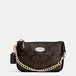 COACH F64854 Small Wristlet 15 In Signature IMITATION GOLD/BROWN/BLACK