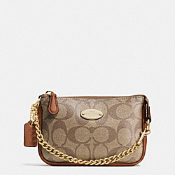 COACH F64854 Small Wristlet 15 In Signature IMITATION GOLD/KHAKI/SADDLE