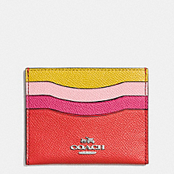 COACH F64859 Flat Card Case In Colorblock Leather SILVER/CARMINE MULTI