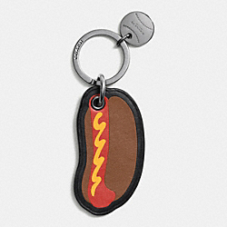 COACH F64932 Modern Varsity Hot Dog Key Ring SADDLE