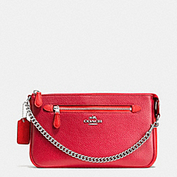 COACH F65015 Nolita Wristlet 24 In Colorblock Leather SILVER/TRUE RED/ORANGE