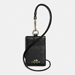 COACH F65067 Lanyard Id In Crossgrain Leather IMITATION GOLD/BLACK
