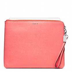 COACH F65076 Saffiano Leather L-zip Ipad Sleeve SILVER/CORAL