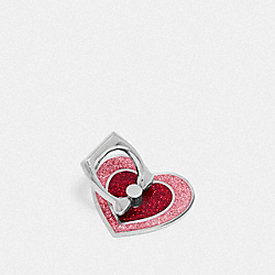 COACH F65087 Glitter Heart Phone Grip OXBLOOD/MULTI