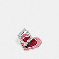 COACH F65087 Glitter Heart Phone Grip OXBLOOD/MULTI