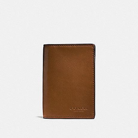 COACH F65104 BIFOLD CARD CASE DARK SADDLE