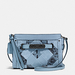 COACH F65140 Coach Swagger Wristlet In Patchwork Exotic Embossed Leather DARK GUNMETAL/CORNFLOWER MULTI