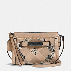 COACH F65140 Coach Swagger Wristlet In Patchwork Exotic Embossed Leather DARK GUNMETAL/BEECHWOOD MULTI