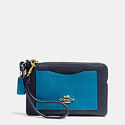 COACH F65141 Corner Zip Wristlet In Colorblock Leather LIGHT GOLD/NAVY/PEACOCK