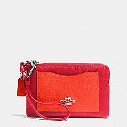 COACH F65141 Corner Zip Wristlet In Colorblock Leather SILVER/TRUE RED/ORANGE