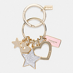 COACH F65166 Stars And Heart Key Ring GOLD/PETAL