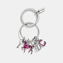 COACH F65167 - COACH ICONS KEY RING SILVER/FUCHSIA