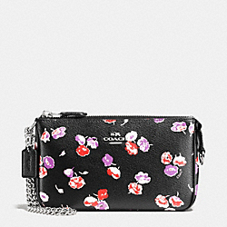 COACH LARGE WRISTLET 19 IN WILDFLOWER PRINT COATED CANVAS - SILVER/BLACK MULTI - F65175