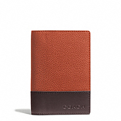 CAMDEN LEATHER PASSPORT CASE - f65177 - ORANGE/MAHOGANY