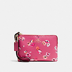 COACH F65188 Corner Zip Wristlet In Wildflower Print Coated Canvas  IMITATION GOLD/DAHLIA MULTI