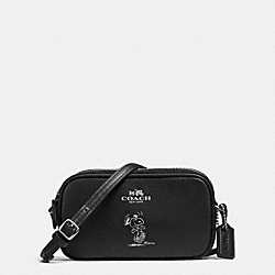 COACH F65195 Coach X Peanuts Crossbody Pouch In Calf Leather SILVER/BLACK