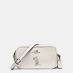 COACH F65195 Coach X Peanuts Crossbody Pouch In Calf Leather SILVER/CHALK