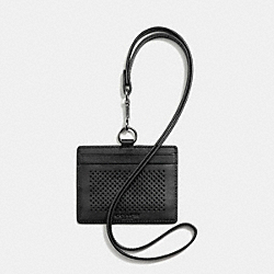 COACH F65209 Id Lanyard In Perforated Leather BLACK