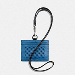 COACH F65209 Id Lanyard In Perforated Leather DENIM