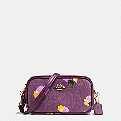 CROSSBODY POUCH IN FLORAL PRINT COATED CANVAS - f65231 - LIGHT GOLD/PLUM MULTI
