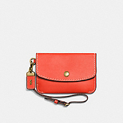 COACH F65268 Envelope Key Pouch OLD BRASS/PEPPER
