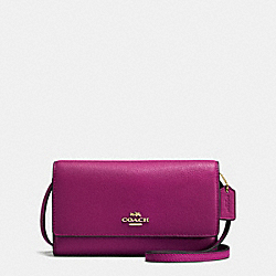 PHONE CROSSBODY IN PEBBLE LEATHER - f65284 - IMITATION GOLD/FUCHSIA