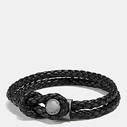COACH F65291 Leather Bracelet Button BLACK