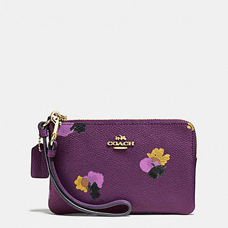 COACH f65307 CORNER ZIP WRISTLET IN FLORAL PRINT COATED CANVAS LIGHT GOLD/PLUM MULTI