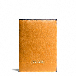 COACH F65358 Park Leather Passport Case BRASS/ORANGE SPICE