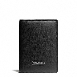 COACH F65358 Park Leather Passport Case SILVER/BLACK