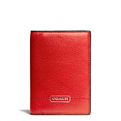 COACH F65358 Park Leather Passport Case SILVER/VERMILLION