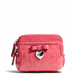 COACH F65384 Embossed Liquid Gloss Double Zip Coin Wallet SILVER/CORAL