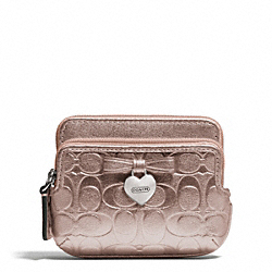 COACH F65384 Embossed Liquid Gloss Double Zip Coin Wallet