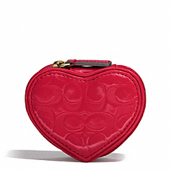 COACH F65385 Embossed Liquid Gloss Heart Jewelry Pouch BRASS/CORAL RED