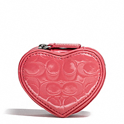 COACH F65385 Embossed Liquid Gloss Heart Jewelry Pouch SILVER/CORAL