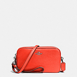 COACH F65414 Crossbody Clutch In Pebble Leather SILVER/ORANGE