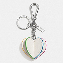 COACH F65427 Leather 3d Heart Bag Charm SILVER/CHALK MULTI