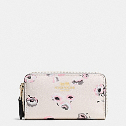 COACH F65442 Small Double Zip Coin Case In Wildflower Print Coated Canvas IMITATION GOLD/CHALK MULTI